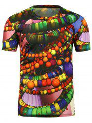 3D Beads Printed Crew Neck T-Shirt