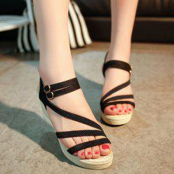 Woven Belt Wedge Heel Sandals - BLACK