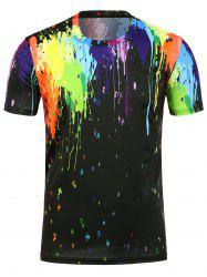 3D Paint Splatter Crew Neck T-Shirt - BLACK