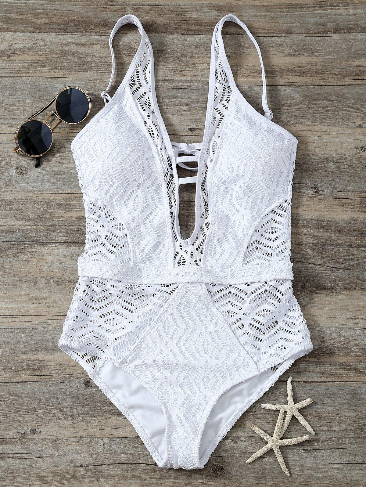 Cutout Backless Lace One Piece SwimwearWOMEN<br><br>Size: L; Color: WHITE; Swimwear Type: One Piece; Gender: For Women; Material: Polyester; Bra Style: Padded; Support Type: Wire Free; Neckline: Plunging Neck; Pattern Type: Solid; Embellishment: Criss-Cross; Waist: Natural; Elasticity: Elastic; Weight: 0.2700kg; Package Contents: 1 x Swimwear;