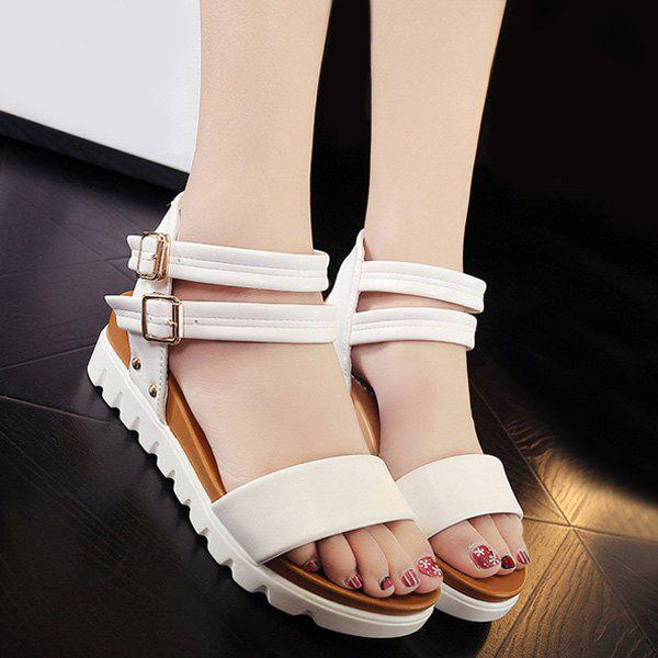 Buy Double Buckle Strap Faux Leather Sandals