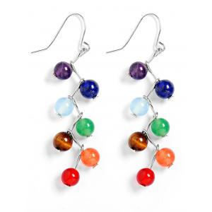 Multicolour Artificial Gemstone Beads Drop Earrings