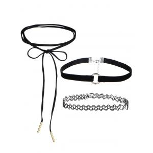 Faux Leather Velvet Bows Circle Chokers