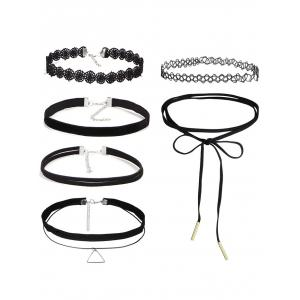 Vintage Triangle Hollow Out Choker Set - Black - One Size