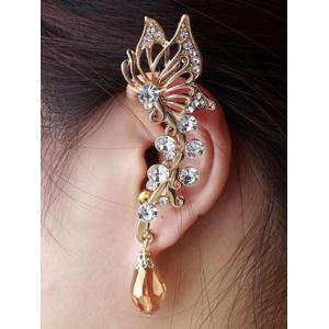 Rhinestone Butterfly Ear Cuff - Golden