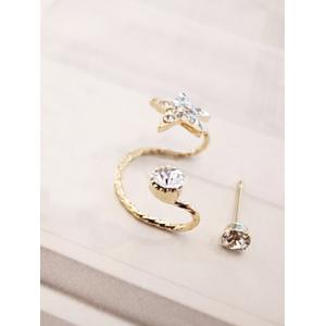 Rhinestone Embellished Star Ear Cuff and Stud Earring -