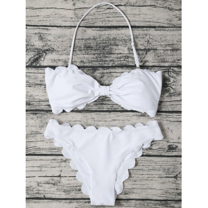 Halter Scalloped Edge Bandeau Bikini Set - White - Xl