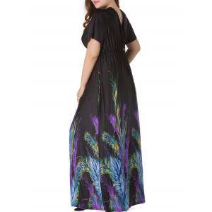 Plus Size Short Sleeve Feather Print Empire Waist Maxi Dress - BLACK 4XL