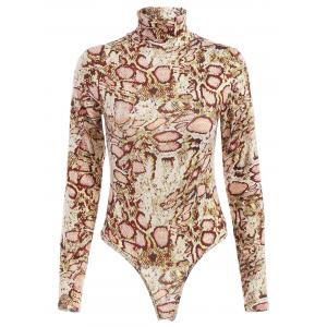 Long Sleeve Snake Printed Turtleneck Bodysuit