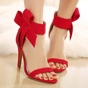 Bowknot Stiletto Heel Zipper Sandals