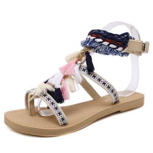 Chains Flat Heel Tassels Sandals - APRICOT 38