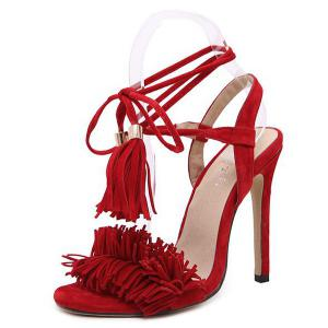 Fringe Stiletto Heel Sandals - RED 38