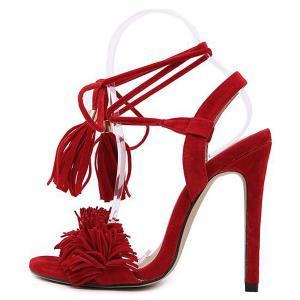 Fringe Stiletto Heel Sandals - RED 39