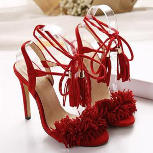 Fringe Stiletto Heel Sandals - RED 40