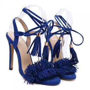 Fringe Stiletto Heel Sandals - BLUE 40