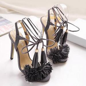Fringe Stiletto Heel Sandals - GRAY 40