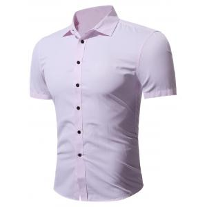 Slim Fit Short Sleeve Formal Business Shirt - Pink - M