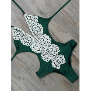 Unlined One Piece Halter Monokini Bathing Suit - Green - 2xl