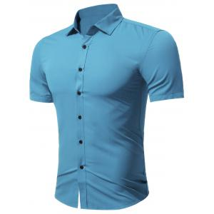 Slim Fit Short Sleeve Formal Business Shirt - Sky Blue - L