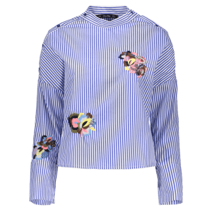 Stand Neck Long Sleeve Striped Embroidered Blouse - BLUE AND WHITE L