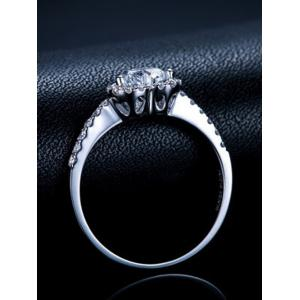 Rhinestone Heart Shaped Wedding Ring - SILVER 8