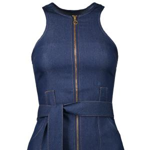 Sleeveless Zip Up Denim Belted Round Neck Denim Jean Dress -