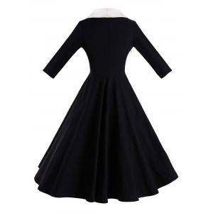 Color Block Shawl Collar Pin Up Dress - BLACK M