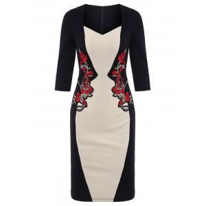 Color Block Sheath Embroidered Dress - Apricot - S