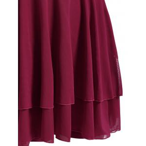 Plus Size Sleeveless High Neck Chiffon Skirted Swimsuit - DEEP RED 6XL