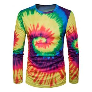 Crew Neck Ombre Tie Dye Trippy T-Shirt - Yellow And Red - 2xl