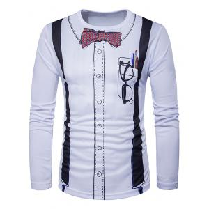 Crew Neck 3D Bow Tie Print Long Sleeve T-Shirt - White - 2xl