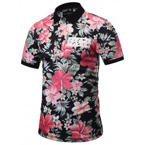 Short Sleeve Floral Hawaiian Polo Shirt - Colormix - 3xl