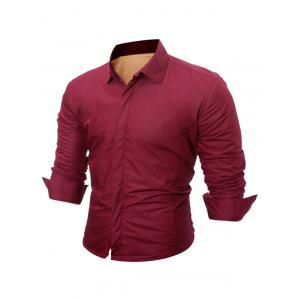 Long Sleeve Flocking Shirt - Wine Red - L