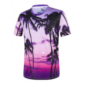 Tropical Palm Tree 3D Print Hawaiian T-Shirt - Purple - S