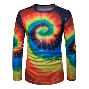 Crew Neck Ombre Tie Dye Trippy T-Shirt - Red With Black - M