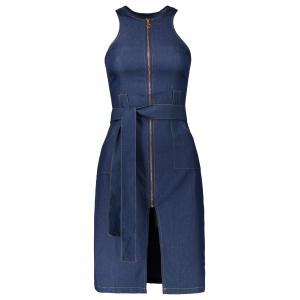 Sleeveless Zipper Front Denim Dress - Blue - 2xl