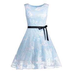Butterfly Graphic Belted Short Formal Dress - Light Blue - 2xl