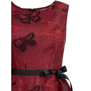 Butterfly Graphic Belted Short Formal Dress - RED XL