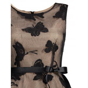 Butterfly Graphic Belted Short Formal Dress - BLACK XL