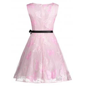 Butterfly Graphic Belted Short Formal Dress - PINK L