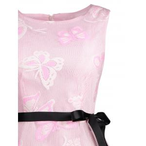 Butterfly Graphic Belted Short Formal Dress - PINK XL