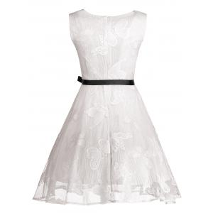Butterfly Graphic Belted Short Formal Dress - WHITE XL