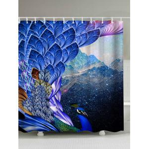 Peacock Print Waterproof Mouldproof Shower Curtain - Bright Blue - 180*180cm