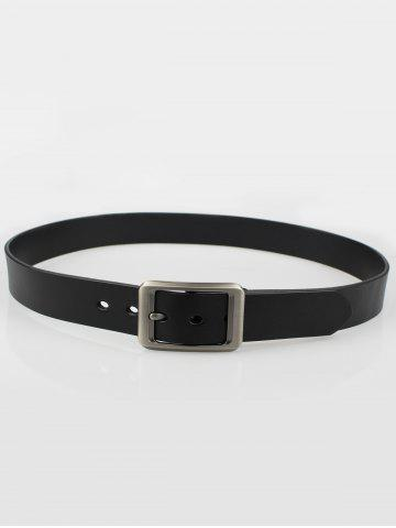Outfit Alloy Rectangle Pin Buckle Leather Belt - BLACK  Mobile