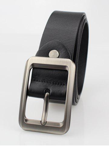 Cheap Alloy Rectangle Pin Buckle Leather Belt - BLACK  Mobile