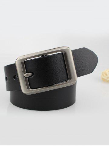 Online Alloy Rectangle Pin Buckle Leather Belt - BLACK  Mobile