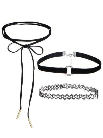 Faux Leather Velvet Bows Circle Chokers - Black