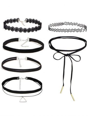 Vintage Triangle Hollow Out Choker Set - Black
