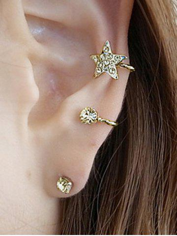 Chic Rhinestone Embellished Star Ear Cuff and Stud Earring