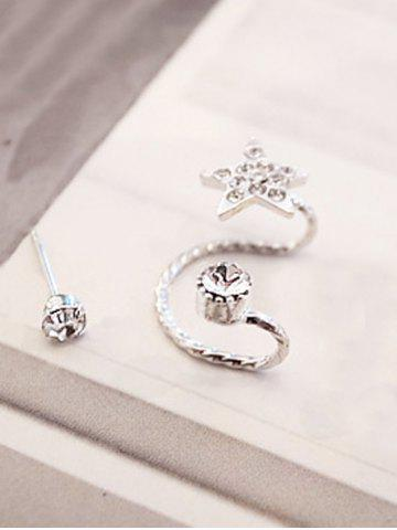 Shop Rhinestone Embellished Star Ear Cuff and Stud Earring - SILVER  Mobile